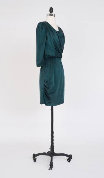 amour vert claire emerald silk dress
